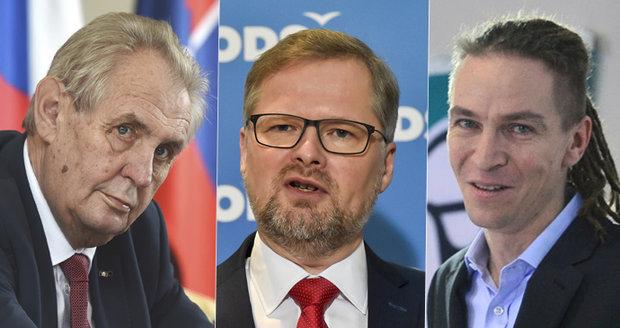 """Fiala a Bartoš byli u Zemana. """"Chce vládu bez extremistů,"""" řekl po schůzce Pirát"""