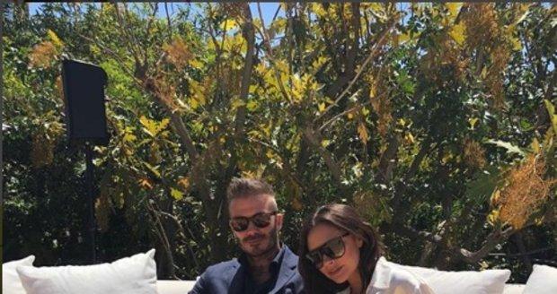 Victoria Beckham s manželem Davidem Beckhamem na její narozeninový den.
