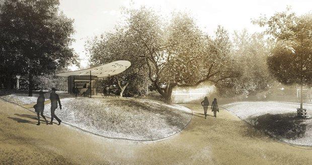 Takto by měla vypadat kavárna v parku Židovské pece na Žižkově. Podpoříte její výstavbu v anketě?