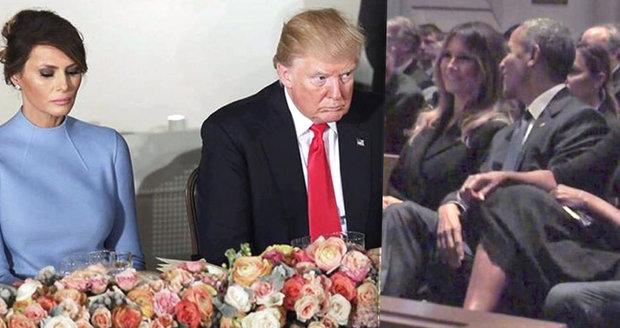 Šťastnější na pohřbu než vedle Trumpa: Melanii rozesmál Obama. Prvně od pornoskandálu