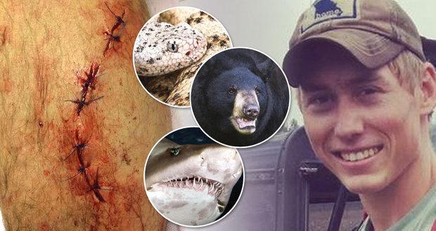 Největší klikař, nebo smolař? Mladíka (20) během pár let napadl žralok, medvěd a chřestýš