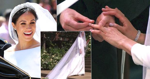 Kolik stála minimalistická svatební róba a doplňky Meghan d0747ad569