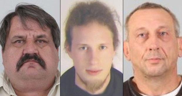 Policie pátrá po těchto mužích, kteří nenastoupili do výkonu trestu. Jedná se o Zdeňka Fridricha, Lukáše Bartalose a Václava Nováka (zleva).