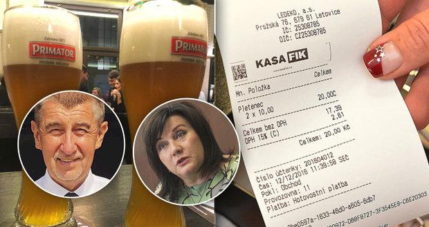 Babišova vláda brzdí: Navrhla nový režim EET pro drobné podnikatele a levnější pivo