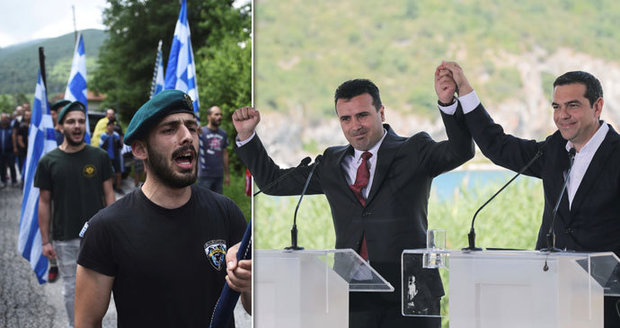 Řekové a Makedonci podepsali dohodu o názvu Makedonie. V dálce se demonstrovalo