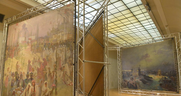 Alfons Mucha na zámku maloval Slovanskou epopej.
