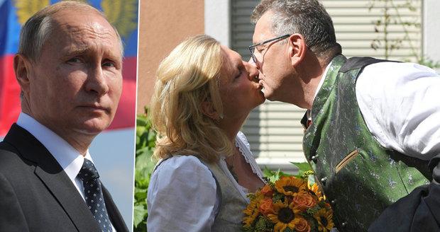Svatebčan Putin: Na obřad přiletěl rakouské ministryni, pak vyrazí za Merkelovou