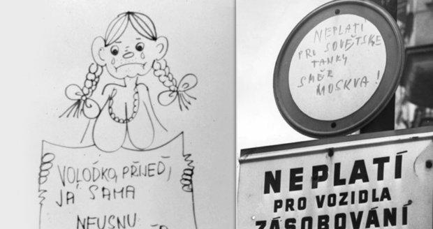 """FOTO: """"Běž domů, Ivane"""" a """"Vyměním brožovaného Lenina za svázaného Brežněva"""": Češi v srpnu 1968 bojovali humorem"""