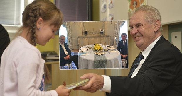 """Zeman po """"prázdninách"""": Oběd s Babišem, mezi školáky ale na začátek roku nepůjde"""