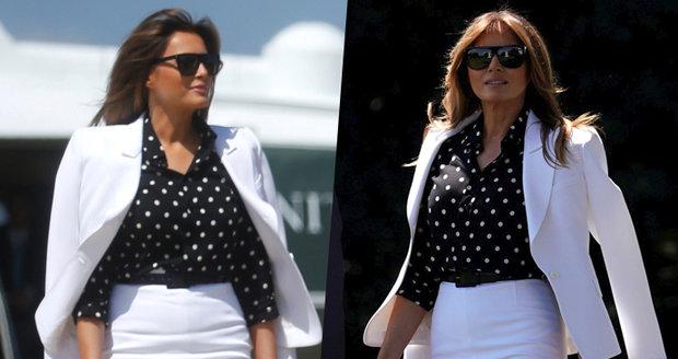 """Pěšinka nesedí, halenka je mimo."" Trumpa doprovází dvojnice Melanie, bují pochybnosti"