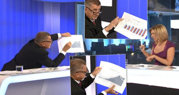 """Babiš na Primě """"mučil"""" moderátorku grafy. Neměla brýle, tak si k ní i lehl"""