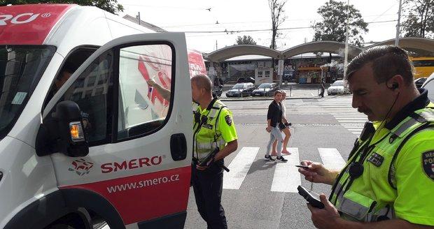 U vjezdů do centra Brna hlídkují strážníci.
