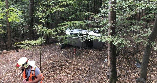 Opilý řidič nezvládl u Adamova řízení, s autem skončil mezi stromy.
