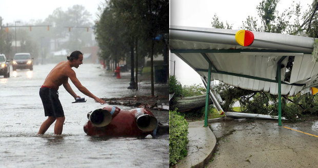 Pět mrtvých, létající střechy a milion lidí bez proudu: Hurikán pustoší USA