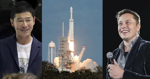 Prvním turistou na cestě k Měsíci bude japonský miliardář. Na Muskově raketě