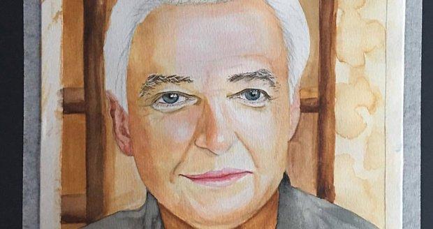 Portrét Karla Gotta s bílými vlasy od čínské umělkyně