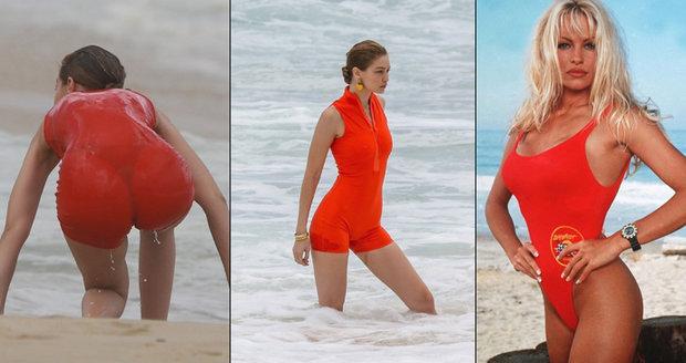 Pobřežní hlídka ožila  Gigi Hadid dráždila v rudých plavkách!  f89d864884