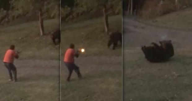 Hrůzné video: Rozzuřená medvědice se vrhla na tátu od dětí! Zahnal ji až střelbou