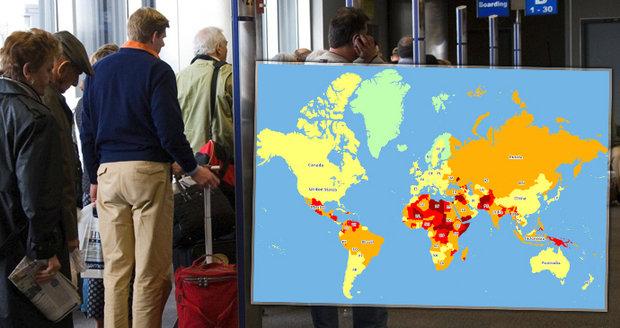 Nová mapa, kam nejezdit: Nebezpečí číhá v Karibiku, Afghánistán propadl. A co Česko?