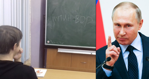 """""""Putin je zloděj!"""" píší ruští žáci na tabule. Zuřící učitelka jim připomněla popravy"""