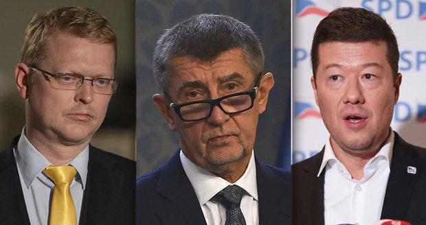 Babiš válcuje politické soupeře, Okamurovi s Bělobrádkem lidé nevěří