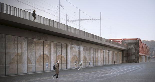 Vizualizace železničního mostu mezi Výtoní a Smíchovem v rámci koncepční rozvahy IPR