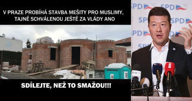 """V Praze staví """"tajně"""" mešitu, varují fotky na facebooku. Jde o vilu Okamury"""