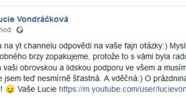 Lucie Vondráčková odpovídala fanouškům na otázky.