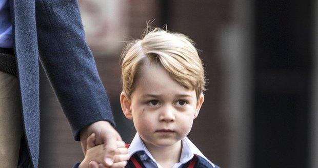 George jde poprvé do školy, září 2017.