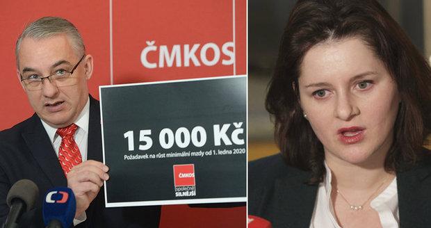 Odbory chtějí minimální mzdu 15 tisíc. Maláčová: Ať se domluví se zaměstnavateli