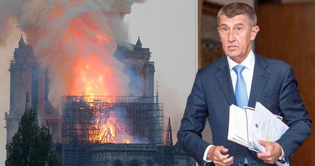 Babiš slíbil peníze na obnovu Notre-Damu. Česko uspořádá i sbírku