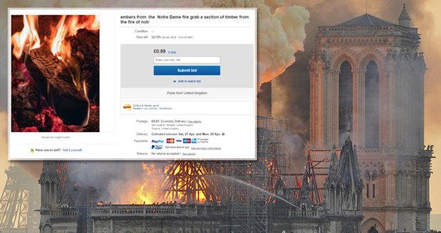 """Šmejdi kšeftovali s """"uhlíky z Notre-Dame"""". Ohořelé dřevo z chrámu prodávali na webu"""