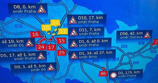 Dopravní peklo! Hlavní tahy na Prahu ucpané, auta se štosují na D1 i D5