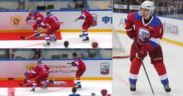 Hokejista Putin na kolenou: Po kanonádě přehlédl na ledě koberec a letěl k zemi