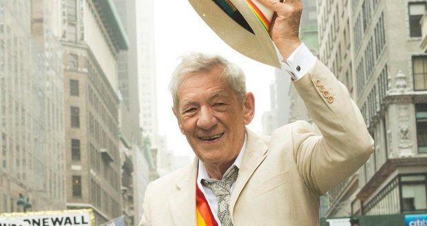 Ian McKellen na Gay Pride Parade v New Yorku