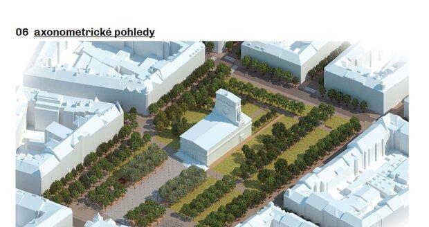 Návrh studie ohledně toho, jak by mohlo náměstí Jiřího z Poděbrad v budoucnsoti vypadat.