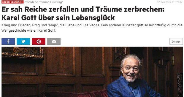 Rozhovor s Karlem Gottem vyšel v německém listu Stern.