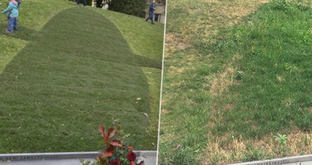 Další ostuda Prahy 6: Fajtlův pomník z trávy stál 900 tisíc! Už není ani vidět, zarostl plevelem a uschl