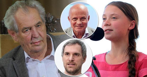 """Zeman šil do Horáčka za pomluvu. Útočil i na """"škodícího"""" Hřiba a """"hysterku"""" Gretu"""
