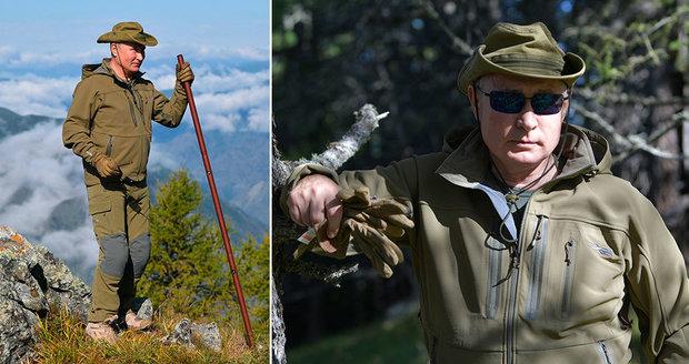 Putin slavil 67. narozeniny. Sbíral houby na Sibiři o holi a s ministrem po boku
