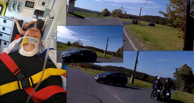 """Děsivé video nehody: Motorkář Lukáš přežil jako zázrakem. """"Měl jsem ku*va štěstí!"""""""