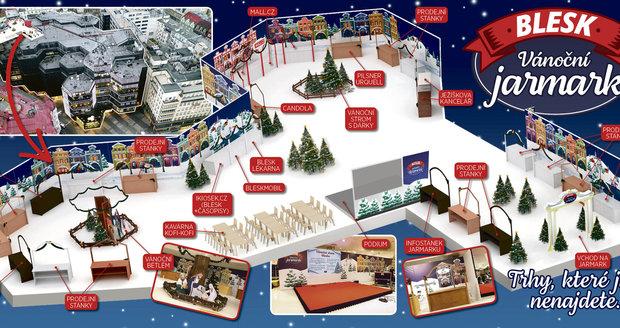 Takto vypadá plán Vánočního jarmarku Blesku.