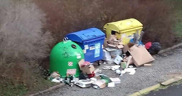 Podle obyvatele, který si nepřál být jmenován, je situace ohledně svozu odpadu v Praze 10 dlouhodobě tristní. Takto vypadalo kontejnerové stanoviště 24. prosince na Štědrý den.