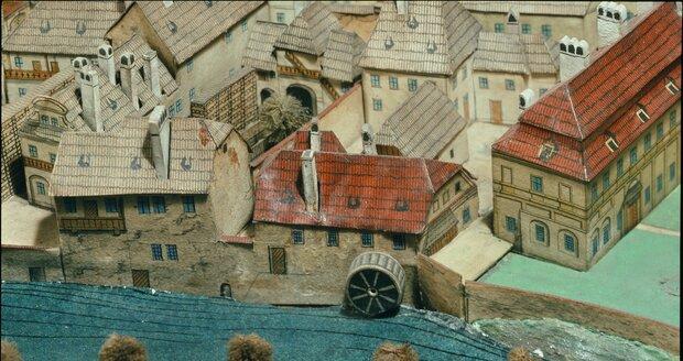 Langweilův model v Muzeu hlavního města Prahy - mlýn na Čertovce na Malé Straně