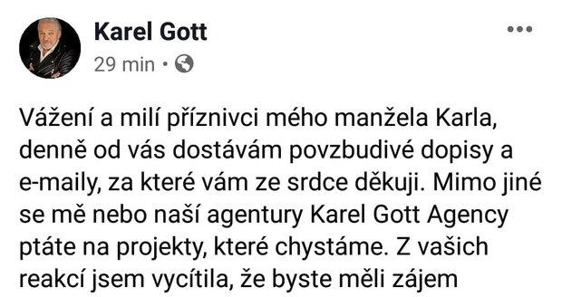 Ivana Gottová obnovila karlův facebook.