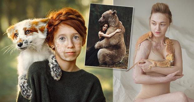 Ruská fotografka Anastasiya Dobrovolskaya tvoří originální portréty se zvířaty.