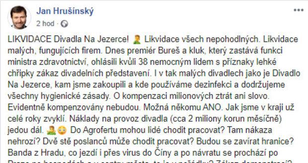 Jan Hrušínský se rozčílil kvůli vládním opatřením ohledně koronaviru.