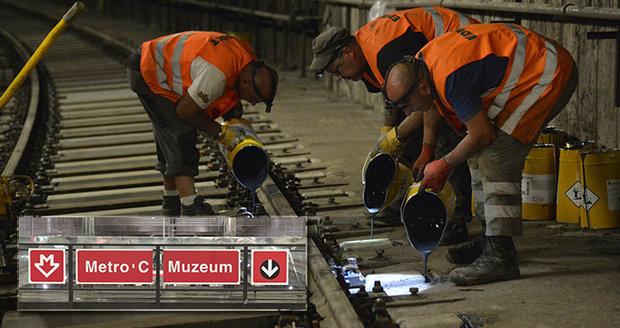Metro C čeká výluka. V dubnu, červenci a září chystá Dopravní podnik výměnu pražců.