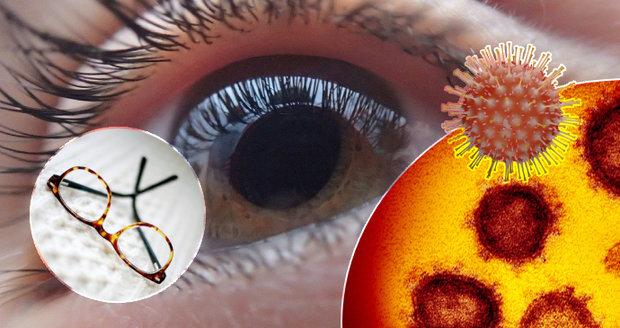 Oči před virovými kapénkami mohou částečně ochránit dioptrické nebo sluneční brýle.