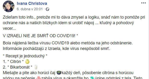 Ivana Christová chce zničit koronavirus citronem a sodou